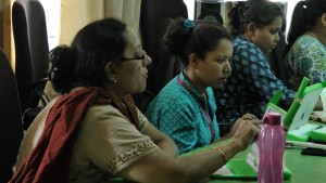 Teachers Darshana from KG and Sanjini from the Special Kids Resource Room during the training.